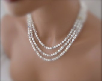 Wedding jewelry set multistrand necklace and earrings Bridal Jewelry Set