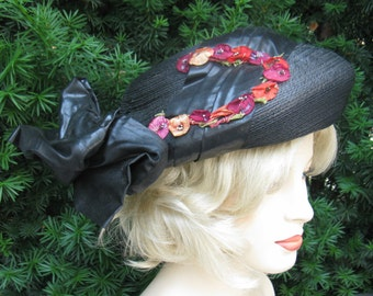 Vintage Edwardian or Victorian Navy Blue Straw Hat with Ribbon & Floral Trim