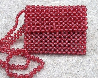 Vintage Cranberry Red Beaded Purse