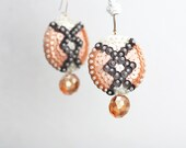 Geometric felt Earrings - Pale Coral Sequins - peach glass drop