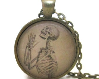 Praying Skeleton Necklace, Halloween Necklace, Goth Jewelry, Halloween Jewelry, Skeleton, Bronze