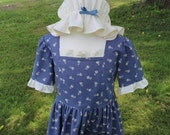 Girl's Colonial Dress w/ Mob Cap Sizes 2-6