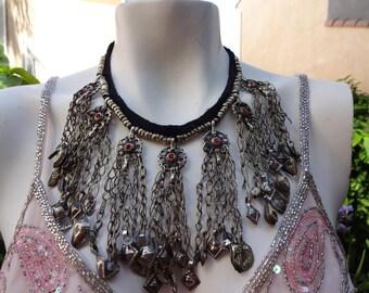 Vintage Silver Turkoman Kuchi Bellydancer Nomad Tribal Gypsies Necklace