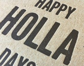 SALE Holiday card set //  Letterpress Holla Days Typography