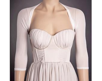 SIMPLE IVORY Wedding Bolero with 3/4 Sleeves Any Lenght,Ivory Lace Bolero,Ivory Wedding Shrug,Lace Wedding Bolero, Custom Bolero