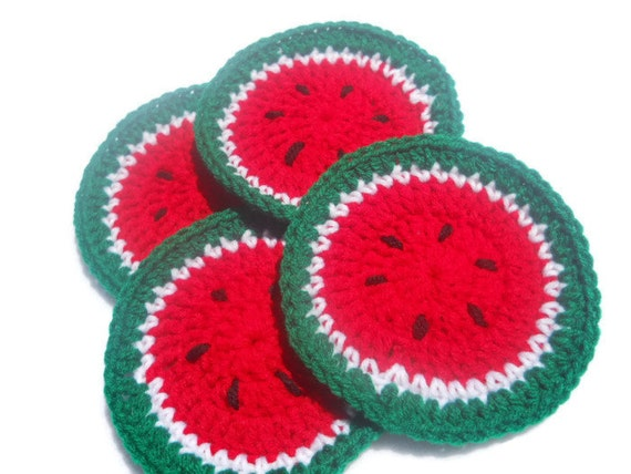 Crocheted Watermelon Coasters Set of Four, Crochet Summer Coasters ON SALE