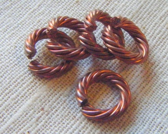 Solid Copper Heavy Duty Twisted Jump Rings (10) Steampunk, Unusual, Industrial