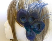 Royal Blue peacock feather fascinator - MISATO design for derby, wedding, and gatsby party - CHOOSE headband, comb or hair clip