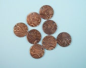 Intricate paisley handmade round copper bead 4 pack