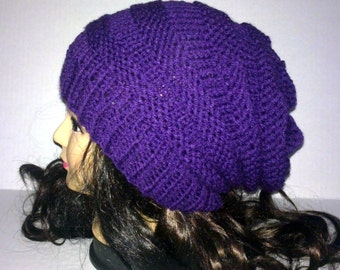 Purple Knit Hat, Beehive Beanie, Womans Hat, Knit Slouchy Beanie, Accordion Hat, Purple Hat, MADE TO ORDER
