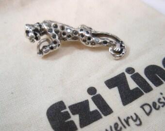 Original Ezi zino tiger  Black Diamonds 0.50 ct  box chain necklace Pendant Handmade solid Sterling Silver 925