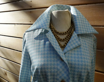 Vintage 70s Dress// Aqua Houndstooth Shirt Dress// Blue Check Dress// Plus Size 16