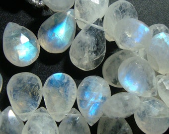 1/2 strand, 9-11x7-8, Blue Rainbow Micro Faceted Moonstone Pear Briolettes