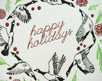 SALE - Letterpress Christmas Holiday Card BOXED SET - Geese Wreath - 50% off