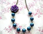 Blue Pearl Necklace Purple Flower Necklace Single Strand Necklace Beadwork Bib Necklace Flower Bridesmaid Necklace Statement Purple Jewelry