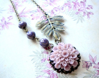 Purple Necklace Flower Necklace Lavender Jewelry Leaf Necklace Nature Wedding Jewelry Spring Wedding Party Pastel Necklace Bridesmaid Gifts