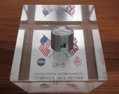 UK 5 (Ariel 5) Satellite Lucite Paper Weight - 1974