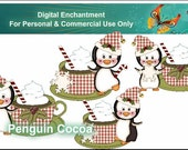 Instant Download Christmas Penguins Hot Cocoa Mugs Candycane  Digital Clipart For Scrapbooking, Gift Tags, Greeting Cards, Labels,Printables