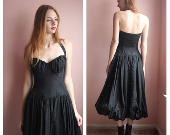 Vintage 50s Dress / Black Taffeta Cocktail Dress / Couture Bubble Skirt / Avant Garde Designer Dress / 1950's Couture