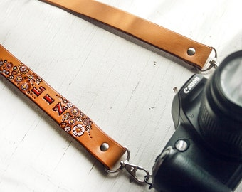 Custom Leather Camera Strap - Wildwood Flower - Floral pattern - Customize with your name and colors - Made to Order by Mesa Dreams