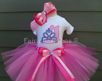 Custom Tutus...TIARA TREASURES..., birthday, tutu set, size 3,6,9,12,18,24 months and 2T,3T,4T,5T,6T years,costume, photo prop, dress up