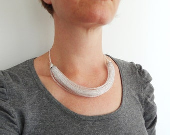 Sparkly statement necklace layered bib necklace clear glass beads minimalist necklace