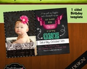 INSTANT DOWNLOAD Chalkboard 1 year old Birthday GIRL one sided Horizontal Template