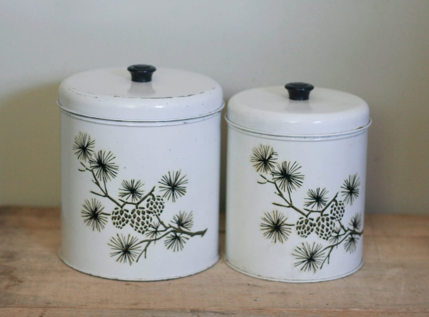 vintage metal kitchen canisters white withsuesuegonzalas