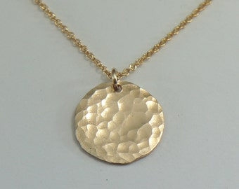 Gold Hammered Disc Necklace, Layered Necklace, Free US Shipping