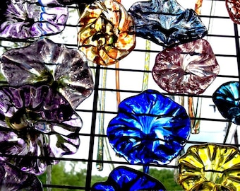 12  Pulled Glass Flowers - Unique Gift Ideas - Gifts for Wedding, Birthday, Anniversary, Wedding - Garden Art - Glass Flowers Knoxville
