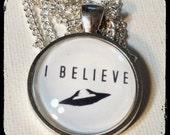 I BELIEVE . Glass Pendant Necklace . UFO . Sci Fi . SPACE . GirlGameGeek