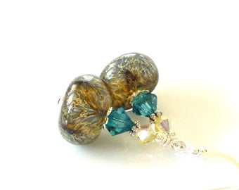 Teal Yellow Earrings, Boro Glass Earrings, Lampwork Earrings, Glass Earrings, Glass Bead Earrings, Beadwork Earrings, Lampwork Jewelry