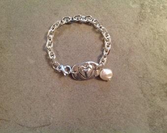 Fine Silver PMC Double Heart Bracelet