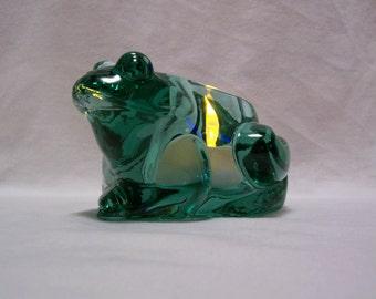 Frog Candle Holder, Frog Votive, Green Frog Candle Holder, Glass Frog