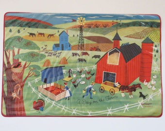 "Midcentury ""A Day on the Farm"" Placemat by Merrimat"