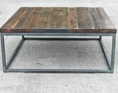 Hardwood Square Coffee Table - The Mason's XL Ottoman - Custom Handmade in USA Industrial Furniture - Solid Reclaimed Wood - Studio Decor