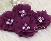 "NEW: 4 pcs Aubrey PLUM / EGGPLANT - 2"" Soft Chiffon with pearls and rhinestones Mesh Layered Small Fabric Flowers, Hair accessories"