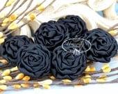 New: 6 pcs BLACK 1.5 inch Adorable PETITE Matte Satin Rolled Rose Rosettes Fabric flowers. Mini Silk Rolled Rosette Appliques.