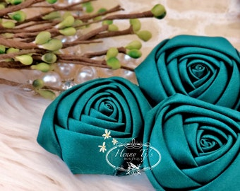 Sierra: 4pcs HUNTER GREEN - 50mm Adorable Rolled Satin Rose Rosettes Fabric flowers. Hair Accessories. Dark Teal Satin Rose Rosette Flowers