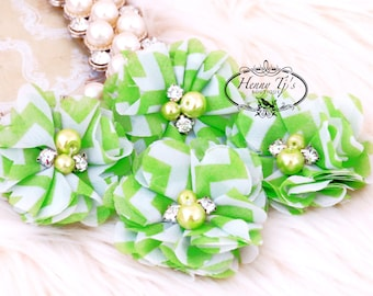 4 pcs Aubrey LIME GREEN  White Chevron Patterned - Soft Chiffon with pearls and rhinestones Layered Small Fabric Flowers, Hair accessories
