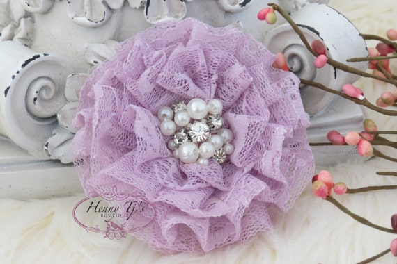 NEW: The Sunridge- 2 pcs 3 inch LAVENDER Ruffled Lace Fabric Flowers w/ rhinestones pearls center for Bridal Sashes, Hair Accessories