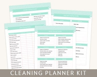 Cleaning Planner Kit in Mint, 6 Editable PDF Pages, For A4 and Letter Paper, Instant Download