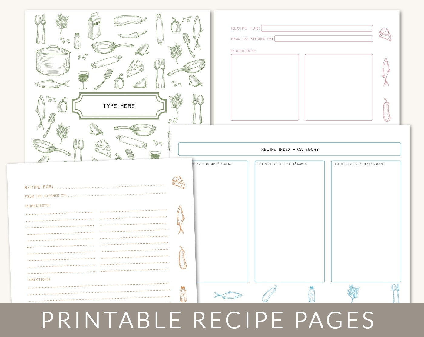 Diy custom recipe binder cookbook printable pages 40 for Free online cookbook template
