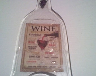 Wine Lover - Melted wine bottle melted and made into cheese tray or wall decor