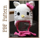 Cat Hat Crochet Pattern, 8 Sizes from Newborn to Adult, PRETTY MISS KITTY - pdf 111