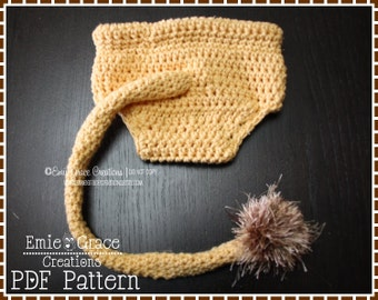 Lion Diaper Cover Crochet Pattern, 3 Sizes from Newborn to 6-12 Mo., LIL' LION HEART - pdf 716