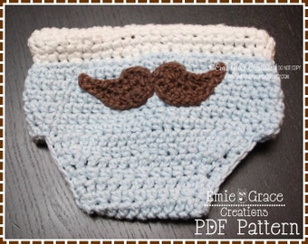 Crochet Mustache Diaper Cover Pattern, LITTLE MAN - pdf 717