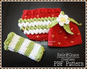 Hat, Diaper Cover and Leg Warmers Pattern SET - SWEET STRAWBERRY - 217, 714, 703