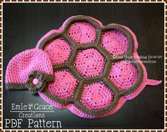 Crochet Turtle Shell Pattern, Baby Beanie and Cape, TITUS and TARYN TURTLE - pdf 711