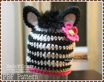Crochet Zebra Hat Pattern, Mohawk Mane Beanie, ZOEY and ZANE ZEBRA - pdf 102